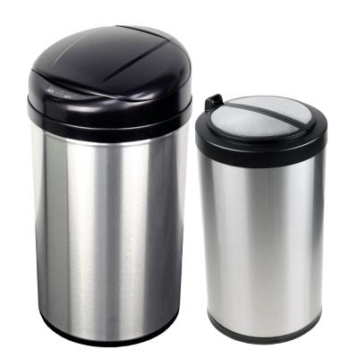 美國NINESTARS時尚不銹鋼感應垃圾桶40L 12L買大送小廚衛優惠組