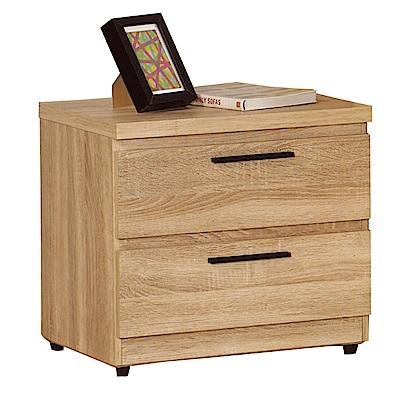 品家居 圖爾佳1.6尺原木紋二抽床頭櫃-48x40x48cm-免組