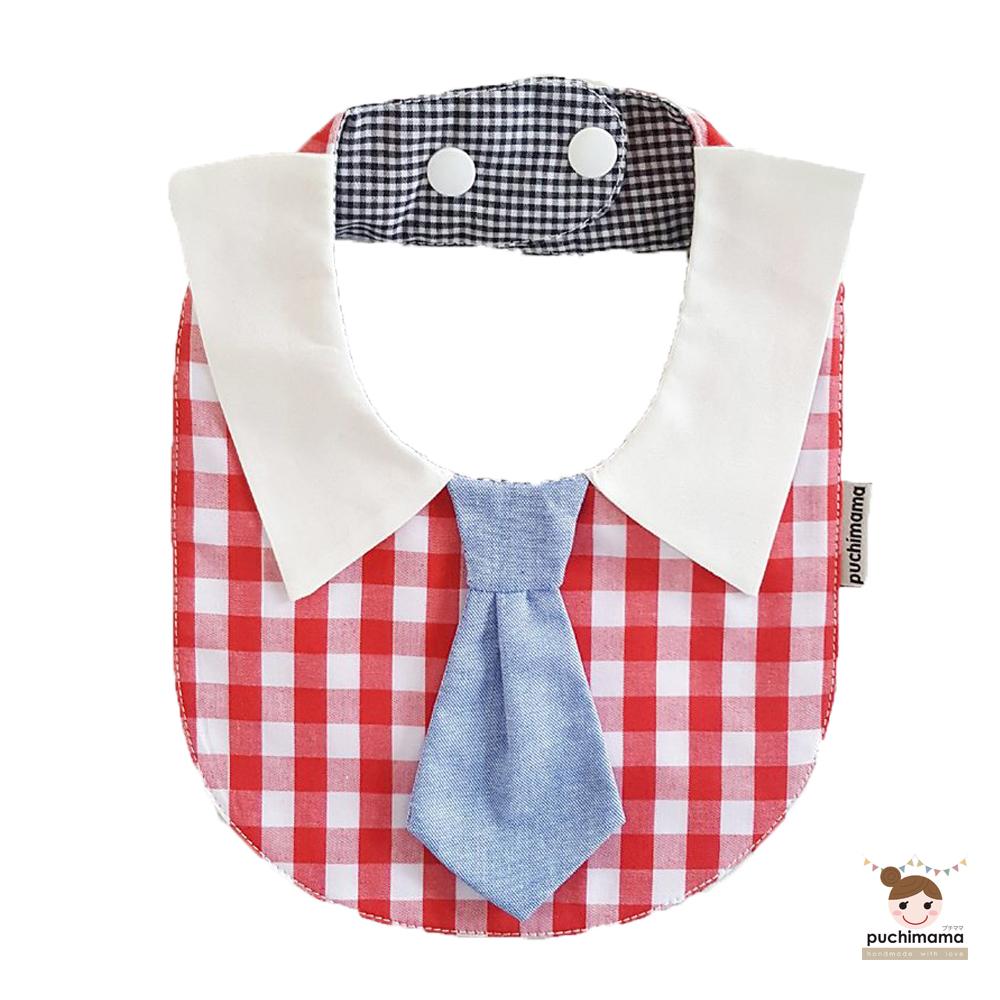泰國 Puchimama 純棉領帶造型圍兜兜 (水藍色領帶-紅色方格)