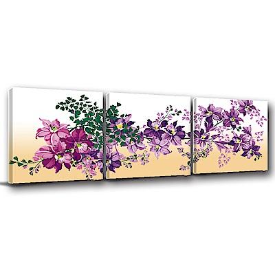24mama掛畫-三聯式方型 掛畫無框畫 紫色佳人 60x60cm