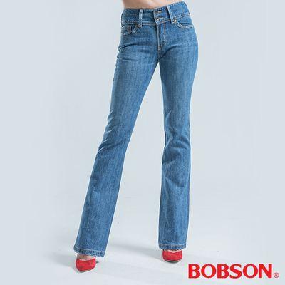 BOBSON 高腰頭星型刺繡大喇叭褲-淺藍