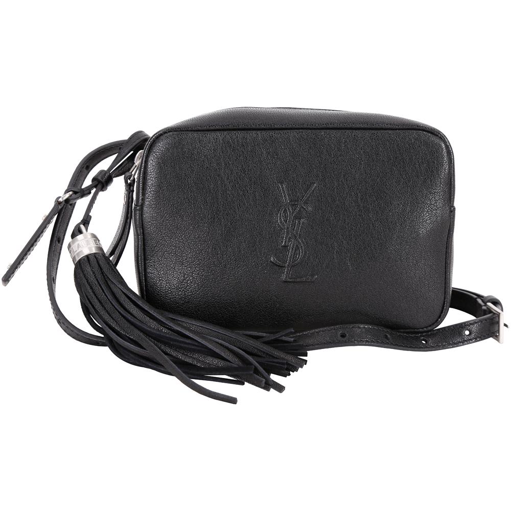 YSL Saint Laurent LOU 浮雕流蘇飾羊皮腰包(黑色)