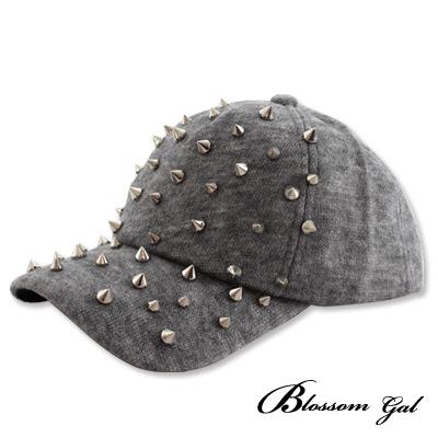 Blossom-Gal搖滾鉚釘毛呢棒球帽-淺灰