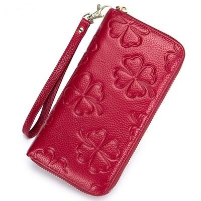 玩皮工坊-壓花牛皮多隔層女士長夾手拿包-LH528