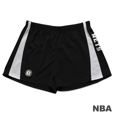 NBA-布魯克林籃網隊拼接休閒短褲-黑白-女