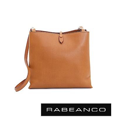 RABEANCO 迷時尚牛皮系列經典方型肩背包(大) - 奶油蘭姆酒棕