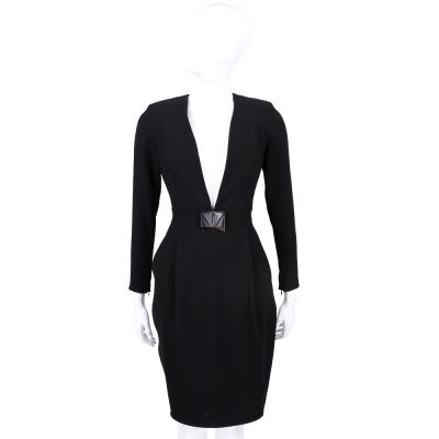 ELISABETTA FRANCHI 黑色深V剪裁皮釦設計長袖洋裝