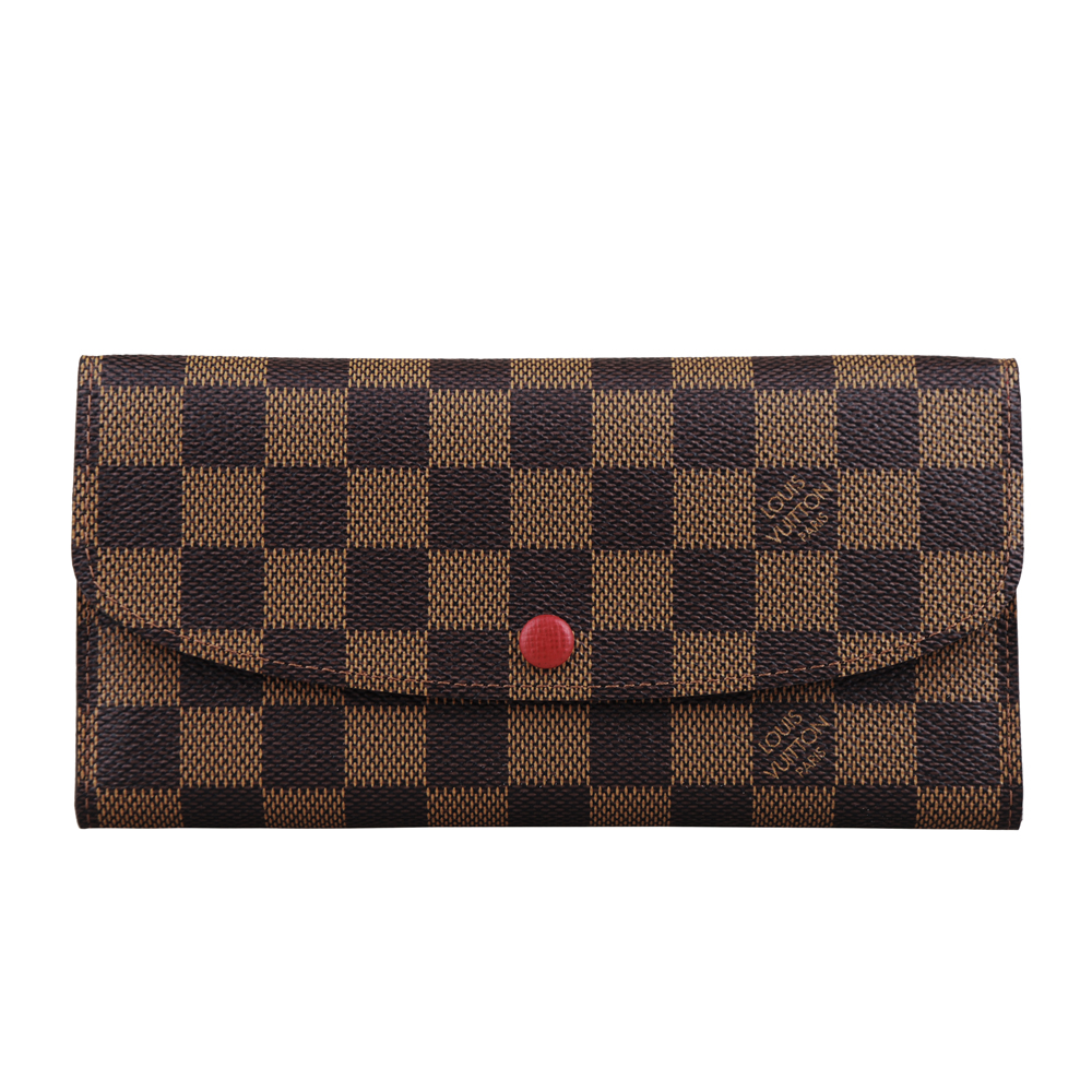LV N63544 棋盤格系列紅鈕扣長夾(紅)LV路易威登