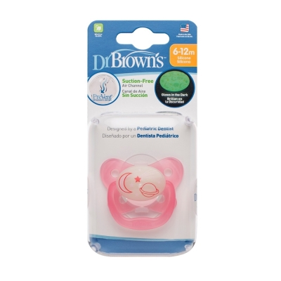 美國Dr Brown  PreVent功能性夜光安撫奶嘴 粉2個6-12月(附收納盒