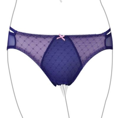 推EASY SHOP-善變提花 低腰細帶三角褲(藍戀紫)