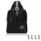 ELLE 爵士輕旅系列 輕量多隔層皮帶釦環設計休閒斜背/單肩包-黑 EL83502