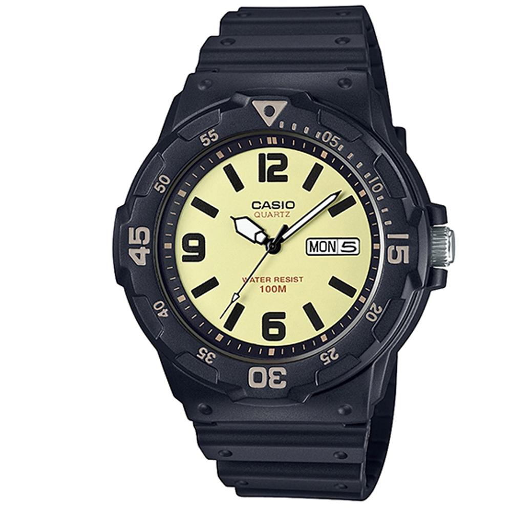 CASIO 潛水風指針錶(MRW-200H-5B)-黃面X黑時刻度/47.9mm