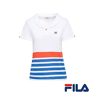 FILA女性小領條紋POLO衫(純淨白)5POR-1432-WT