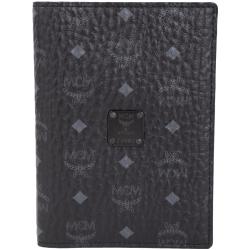 MCM Nomad 經典品牌圖騰牛皮護照夾(黑色)