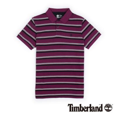 Timberland-男款紫紅色條紋刺繡短袖Polo衫