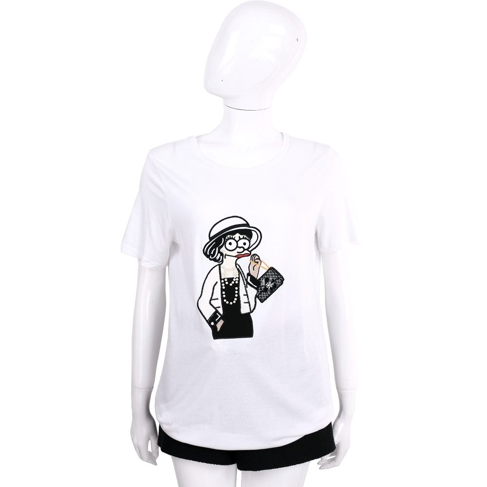 EDWARD ACHOUR PARIS 白色刺繡貴婦圖騰短袖T恤