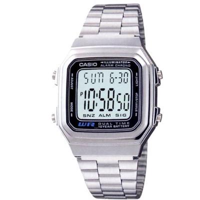 CASIO 時尚都會數字錶(A178WA-1)-銀/32.5mm