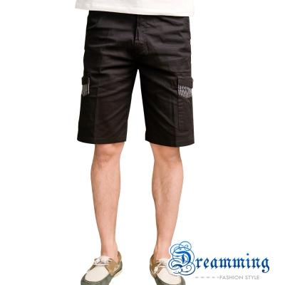 Dreamming 剪接條紋口袋伸縮工作短褲-深灰