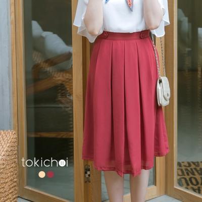 東京著衣 CHIC腰部裝飾雪紡及膝裙-XS.S.M.L(共二色)