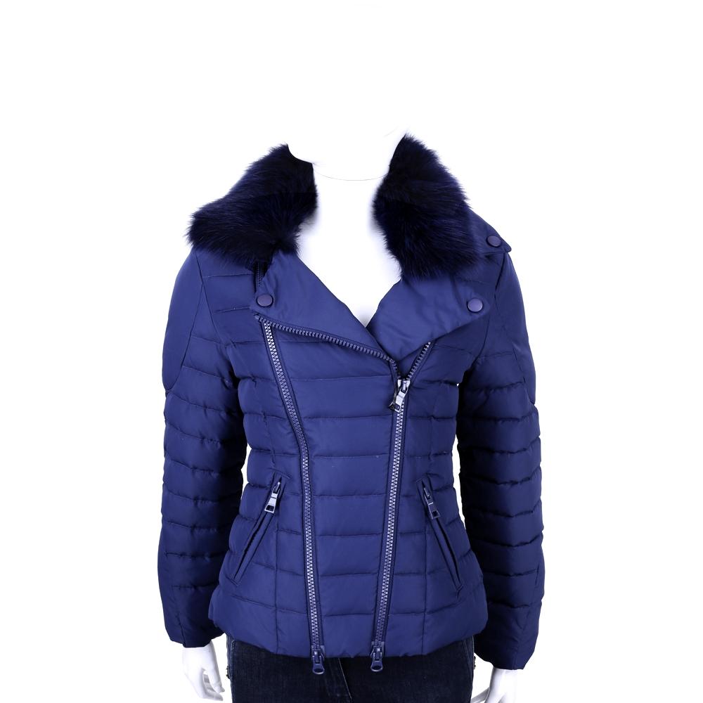 MOSCHINO 藍色車縫設計拉鍊羽絨外套(毛領可拆)