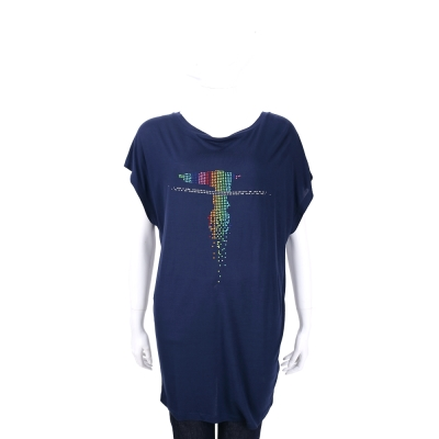 TRUSSARDI 深藍色多彩貼飾LOGO設計長版上衣