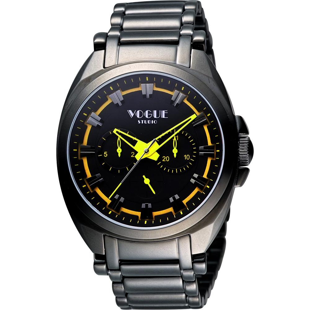VOGUE 嶄新系列日曆時尚腕錶-IP黑x黃/42mm