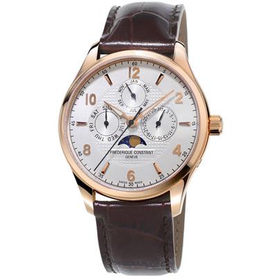 康斯登 CONSTANT  RUNABOUT系列限量自動月相腕錶-咖啡色/40mm