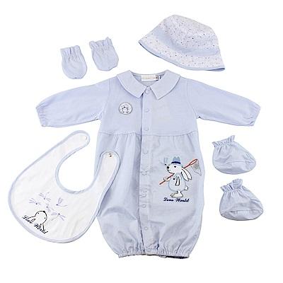 愛的世界 純棉小兔蜻蜓長袖兩用嬰衣5件組禮盒/3M~1歲