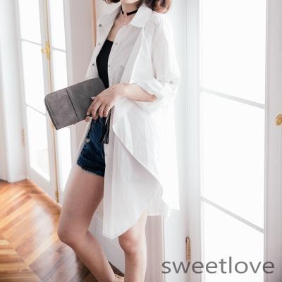 sweetlove正韓-層次感寬版銀釦白色風衣外套