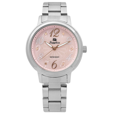 Sapphire  精彩時刻珍珠母貝藍寶石水晶不鏽鋼手錶-淺粉色/31mm