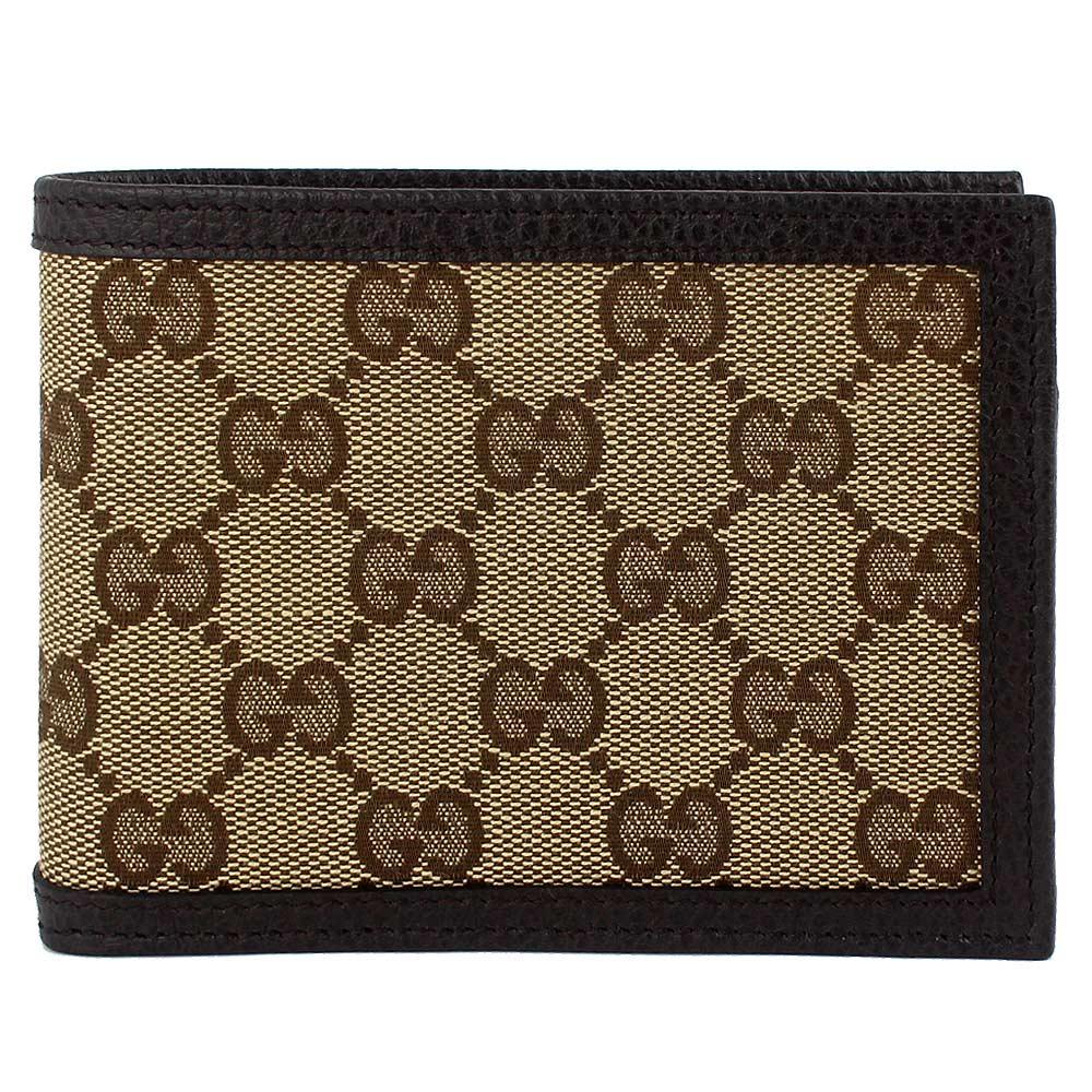 GUCCI 經典帆布咖啡色皮飾邊多夾層短夾(11卡/大)