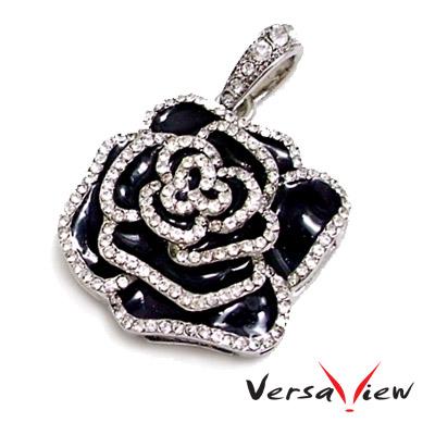 VersaView 水晶銀歌德式黑玫瑰造型8G隨身碟