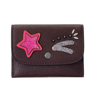 COACH可可紅皮革星星眨眼釦式翻摺票卡名片夾