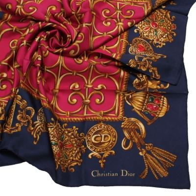 Christian Dior 皇家金飾圖紋大領巾-深藍色