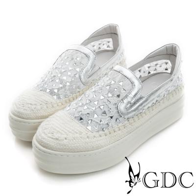 GDC-舒適三角水鑽蕾絲真皮厚底懶人休閒鞋-銀色