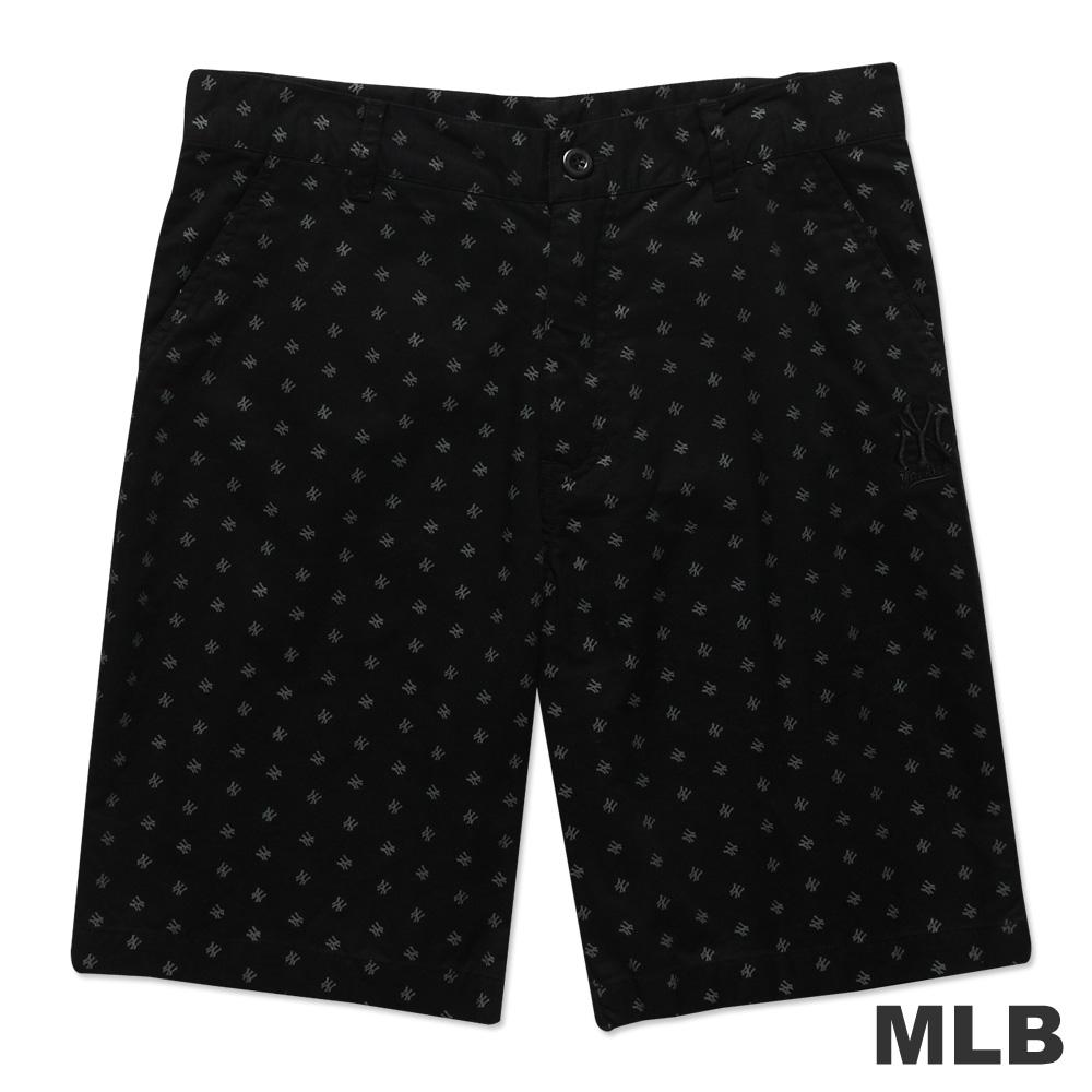 MLB-紐約洋基隊滿版LOGO休閒印花短褲-黑(男)