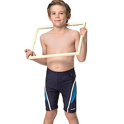 沙兒斯 兒童泳裝 藍色邊飾七分男童泳褲