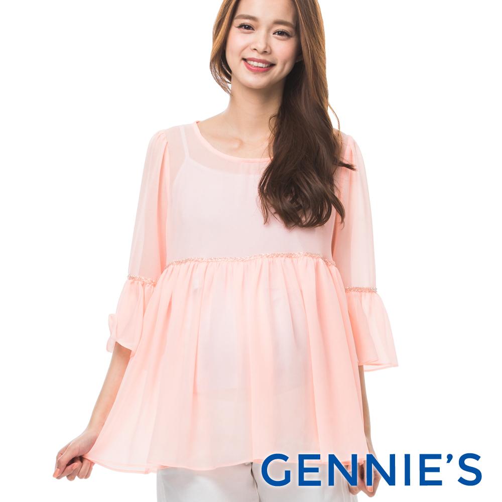 Gennies專櫃-浪漫荷葉雪紡上衣(T3B07-桔)-M/L