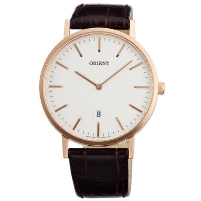 ORIENT 東方錶 時尚簡約風 石英錶-玫瑰金-白/41mm