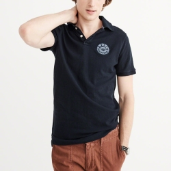 A&F 經典徽章文字短袖Polo衫-深藍色 AF Abercrombie