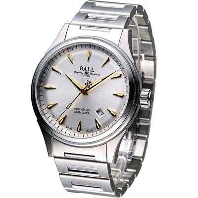 BALL Firman Racer Classic 經典機械腕錶-銀白/鋼鍊/42mm