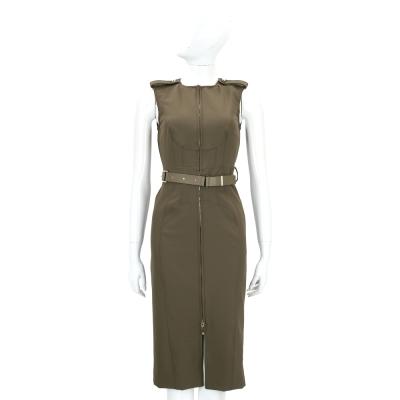 ELISABETTA FRANCHI 軍綠色拉鍊開叉設計無袖洋裝(附腰帶)