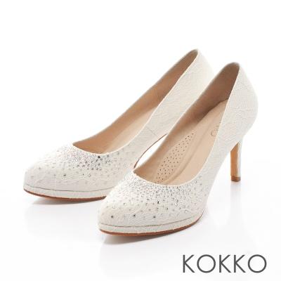 KOKKO-浪漫蕾絲真皮軟墊高跟鞋 - 純粹白