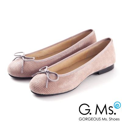 G.Ms. MIT系列-全真皮蝴蝶結蜥蝪紋芭蕾舞鞋- 蜥蝪可可