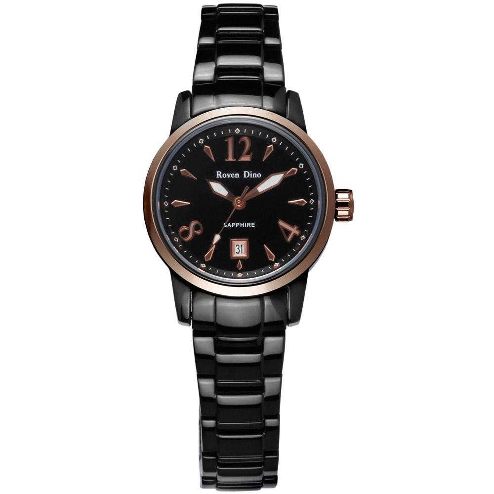 Roven Dino刀鋒對決頂尖時尚指針鋼帶腕錶-黑面金x小29mm