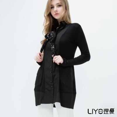 LIYO理優韓系瞬間顯瘦長襯衫-黑