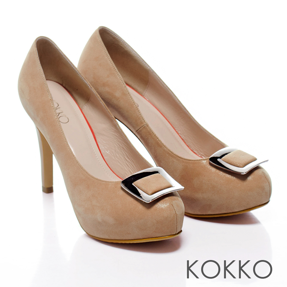 KOKKO經典手工 ‧新潮亮眼方釦羊皮高跟鞋 - 裸膚色