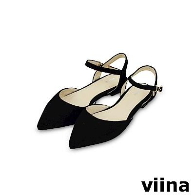 viina-都會系列-尖頭絨面繫帶平底鞋-經典黑