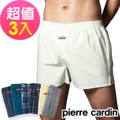 Pierre Cardin 皮爾卡登 多色格紋平織開襟四角褲(超值3件組)隨機格紋