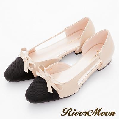 River-Moon法式典雅-朵結小香風微方頭復古簍空跟鞋-杏
